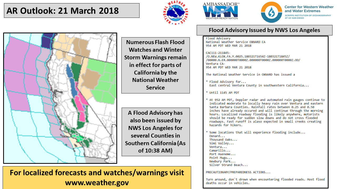CW3E AR Update: 21 March 2018 Outlook – Center for Western